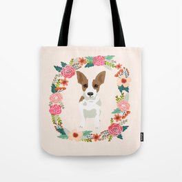 rat terrier floral wreath dog breed pet portrait pure breed dog lovers Tote Bag