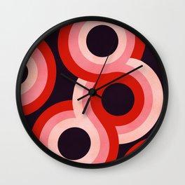 Red & pink retro rainbow circles Wall Clock