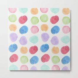 Colorful trendy colors large watercolor polka dots Metal Print