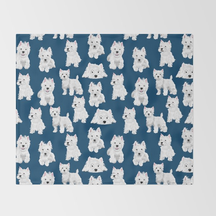 Westies on Blue Throw Blanket