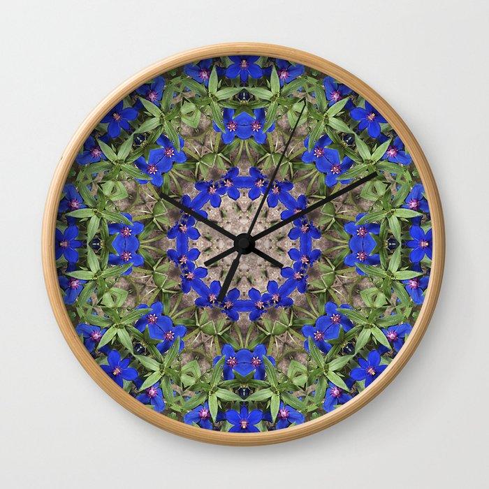 Peacock colors botanical kaleidoscope, mandala - Anagallis, Blue pimpernel flowers Wall Clock