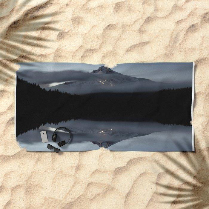 Trillium Lake Reflection Beach Towel