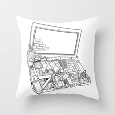 Laptop Surroundings Throw Pillow