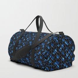 Black, blue geometric pattern. Duffle Bag