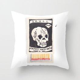 Skull Matchbox Throw Pillow