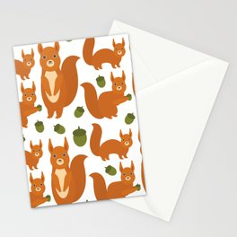 Seamless pattern Set of funny red squirrels with fluffy tail with acorn  on white background Stationery Cards