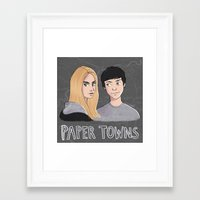 paper towns Framed Art Prints featuring Paper Towns by Joan Pons