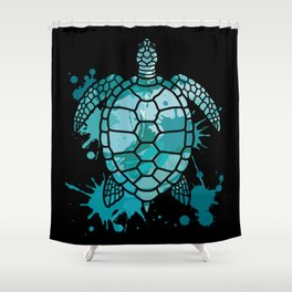 Colored Sea Turtle   Artistic Paint Splotches Shower Curtain