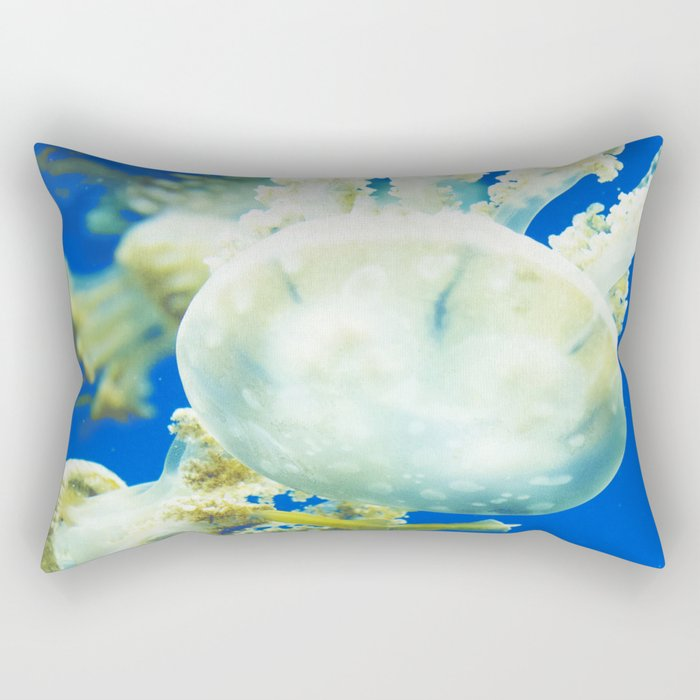 Blue Jellyfish Under the Sea Underwater Photography Saturated Pop Art Color Wall Art Rectangular Pillow