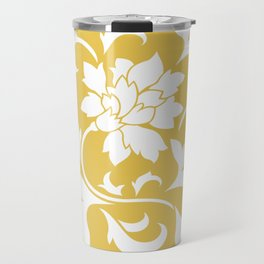 Oriental Flower - Mustard Yellow Travel Mug