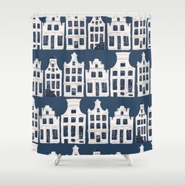 Dutch white and blue building pattern Shower Curtain