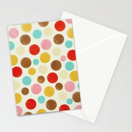 Distressed polka dot pattern in pastel hues Stationery Cards