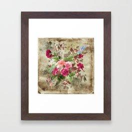 Roses on Vintage Background Framed Art Print