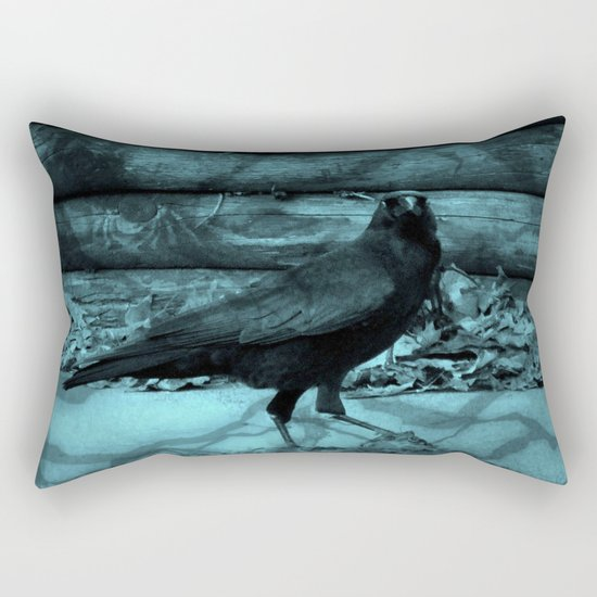 Blue Crow Shadows Rectangular Pillow