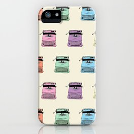 A head full of typewriters - pattern - vintage - '50s - 1950 - fifties- lettera 22 - Oiivetti facsim iPhone Case