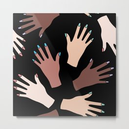 Nail Expert Studio - Colorful Manicured Hands Pattern on Black Background Metal Print