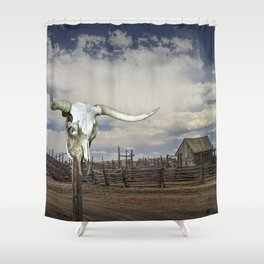 Steer Skull and Western Fenced Corral Shower Curtain