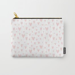 Blush pink white handdrawn watercolor romantic hearts pattern Carry-All Pouch