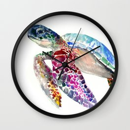 Sea Turtle, swimming turtle art, purple blue design animal art Wall Clock
