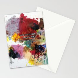 Love NEVER FAILS Scripture Bible Verse Abstract Art Painting by Michel Keck Stationery Cards