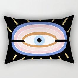 Retro evil eye - black & gold Rectangular Pillow