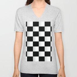 BLACK AND WHITE SQUARES Abstract Art Unisex V-Neck
