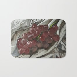 Oil paint on canvas still life painting of grapes on fabric cloth drape contrast fruit  Bath Mat