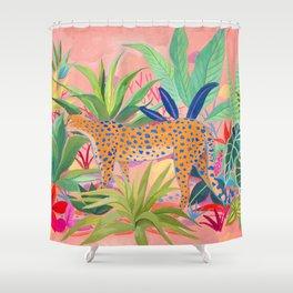 Leopard in Succulent Garden Shower Curtain