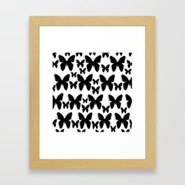 Butterfly Black and White Pattern Framed Art Print
