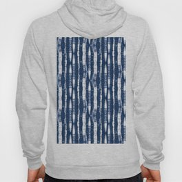 Shibori Stripes Indigo Blue Hoody