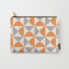 Orange and Gray Retro Minimalist Geometric Pattern Carry-All Pouch
