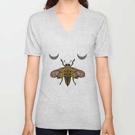 Butterfly, moon and geometric shapes Unisex V-Neck