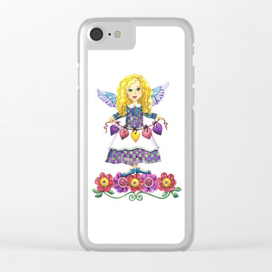Angel Love (Purple) Clear iPhone Case
