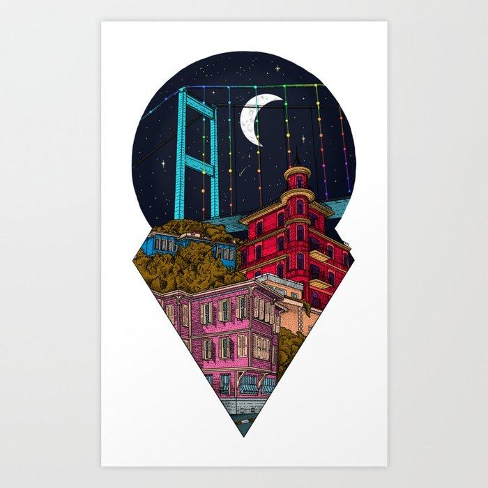 Night carries the lights Art Print