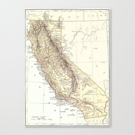 Vintage Map of California (1878)  Canvas Print