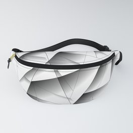 Exclusive light mosaic pattern of chaotic black and white fragments of glass, metal and ice floes. Fanny Pack