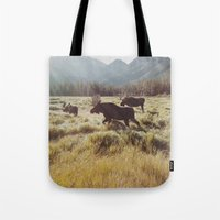 moose Tote Bags featuring Three Meadow Moose by Kevin Russ