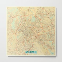 Rome Map Retro Metal Print