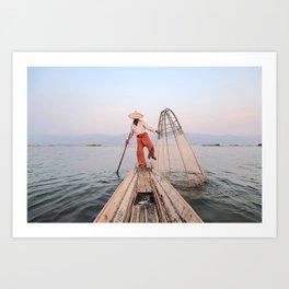 The Leg Rowing Fisherman   Inle Lake - Myanmar  Art Print
