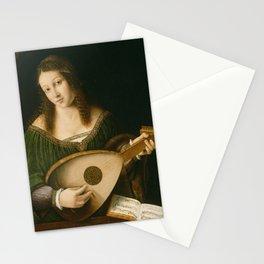 Bartolomeo Veneto - Lady Playing a Lute Stationery Cards