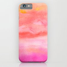 Bright pink orange sunset watercolor hand painted Slim Case iPhone 6