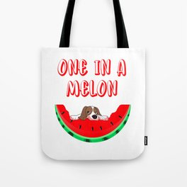 Cute Puppy Eating A Watermelon One In A Melon Tote Bag