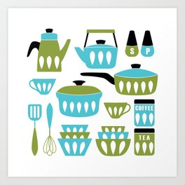 My Midcentury Modern Kitchen In Aqua And Avocado Art Print