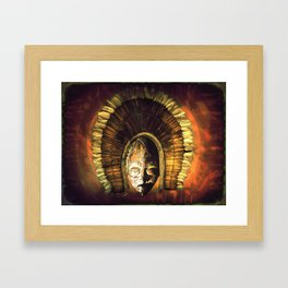 Tribal Mask with head dress golden Framed Art Print