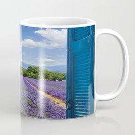 wooden shutters, lavender field Coffee Mug