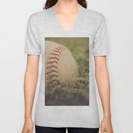 Used Baseball in Grassy Field wth Aged Effect Unisex V-Neck