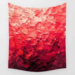 MERMAID SCALES 4 Red Vibrant Ocean Waves Splash Crimson Strawberry Summer Ombre Abstract Painting Wall Tapestry