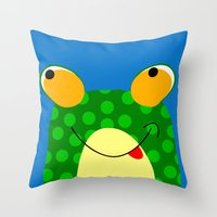 frog Throw Pillows featuring Frog by Jessica Slater Design & Illustration