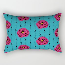 Hot Pink Flower With Barbed Wire On Light Blue Background Rectangular Pillow