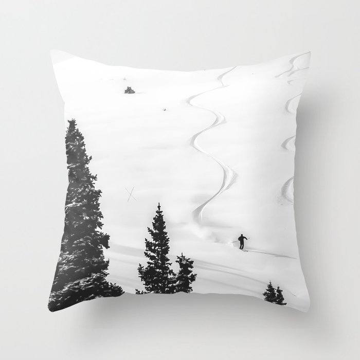 Backcountry Skier // Fresh Powder Snow Mountain Ski Landscape Black and White Photography Vibes Throw Pillow